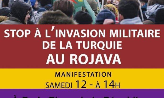 Solidarité avec le peuple kurde, manifestation samedi 12 octobre à 14H, République