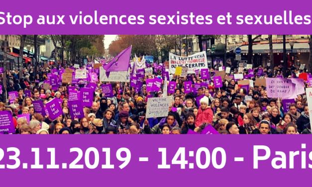 23 et  25 novembre :  au travail, dans la vie, stop aux violences sexistes et sexuelles