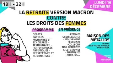 Meeting «La retraite version Macron contre les droits des femmes» le 16 décembre