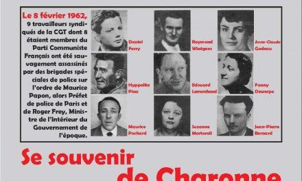 8 février 1962-8 février 2020 Pour la reconnaissance du crime d'état à Charonne !