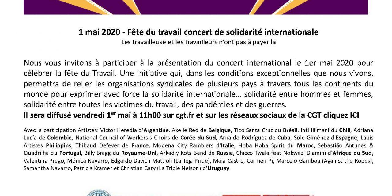 Concert internationaliste du 1er mai. 11H. www.cgt.fr