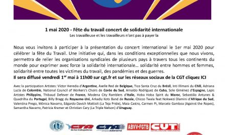 Concert internationaliste du 1er mai. 11H. www.cgt.fr