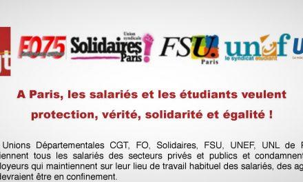 A Paris, les salariés et les étudiants veulent protection, vérité, solidarité et égalité !