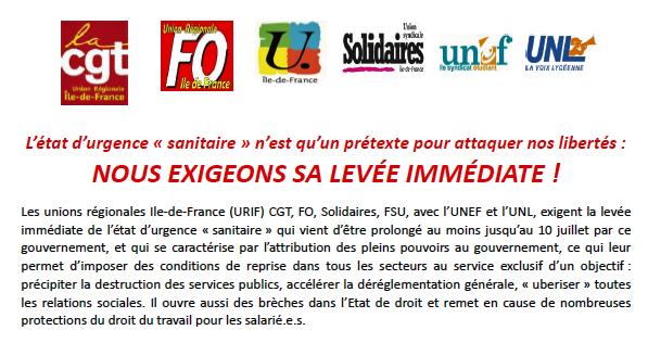 L'état d'urgence « sanitaire » n'est qu'un prétexte pour attaquer nos libertés : NOUS EXIGEONS SA LEVÉE IMMÉDIATE !
