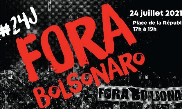 samedi 24 juillet : journée mondiale anti-Bolsonaro (17h, place de la République)